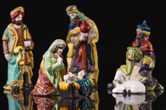 Christmas Manger scene with figurines Royalty Free Stock Image