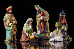 Christmas Manger scene with figurines Stock Image