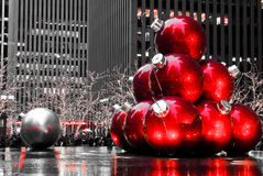 Christmas in Manhattan, NYC. Christmas Ornaments on display in downtown Manhattan, NYC stock photo