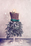 Christmas Mannequin Dressed In Fir Branches Stock Image