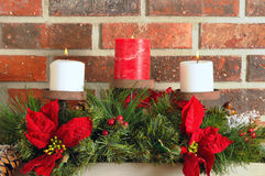 Christmas mantel decor Royalty Free Stock Photography