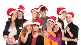 Christmas many couples group Royalty Free Stock Photography