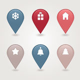 Christmas mapping pins icon. Web 2.0 buttons. Colored satin round shapes Stock Photos