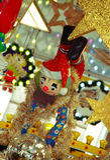 Christmas Market. Clown on Christmas market, colorful shining background Stock Image
