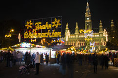 Christmas market. With christmas trees and decorations in front of Vienna city hall Stock Photography
