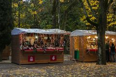 Christmas market in the Acqua Santa Park of Chianciano Terme in the autumn season Royalty Free Stock Photography