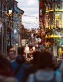 Christmas Market atmosphere in Strasbourg, France people illumin Royalty Free Stock Images