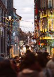 Christmas Market atmosphere in Strasbourg, France people illumin Royalty Free Stock Photography