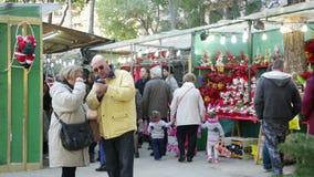 Christmas market stock video footage