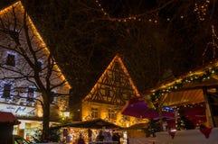 Christmas market -bavarian illuminated town in evening Royalty Free Stock Photos