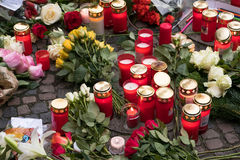 The Christmas Market in Berlin, the day after a truck drove into a crowd. Berlin, Germany - december 20, 2016: Candles and flowers at the Christmas Market in royalty free stock photo