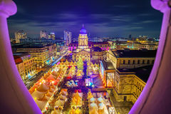 Christmas market in Berlin. Christmas market, Deutscher Dom and konzerthaus in Berlin, Germany Royalty Free Stock Photo