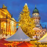 Christmas market in Berlin. Christmas market, French church and konzerthaus in Berlin, Germany Stock Photo