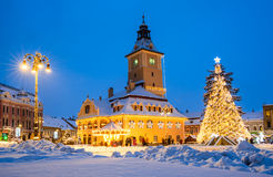 Christmas Market, Brasov, Romania. Brasov, Romania. Night image of Christmas Market in december 2014 in Council Square of medieval city, landmark of Transylvania royalty free stock image