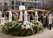 Christmas market in Budapest. Tourists admire the huge Advent wreath at the traditional Christmas market in Budapest, Hungary stock photos