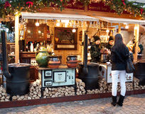 Christmas market in Budapest. Christmas market in front of the St. Stephen's Basilica in Budapest, Hungary royalty free stock image