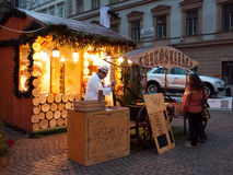 Christmas market in Budapest. Christmas market in front of the St. Stephen's Basilica in Budapest, Hungary stock image