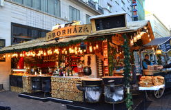 Christmas market candy stand Budapest Royalty Free Stock Photography