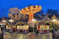 Christmas Market with Carousel in Liseberg park in Gothenburg Stock Image