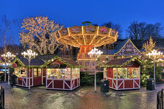 Christmas Market with Carousel in Liseberg park of Gothenburg Royalty Free Stock Images