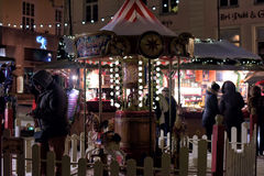 Christmas market with carousel Stock Photography