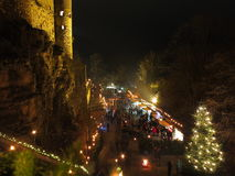Christmas market blur at castle by night Royalty Free Stock Photo