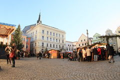 Christmas market in Cesky Krumlov Stock Images