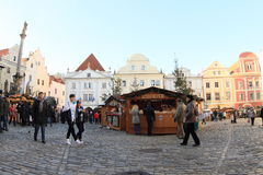 Christmas market in Cesky Krumlov Royalty Free Stock Photos