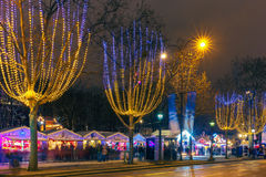 Christmas  market on the Champs Elysees in Paris Stock Images