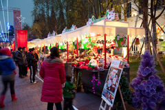 Christmas market in Chengdu stock photos
