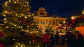 Christmas Market Hellbrunn Palace, Salzburg, Austria. Christmas Market, Christkindlmarkt Hellbrunn Palace, Hellbrunn Advent Magic, Salzburg, Austria, Europe stock video