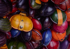 Christmas market. Colorful small leather goods. Royalty Free Stock Images
