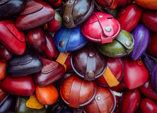 Christmas market. Colorful small leather goods. Stock Image