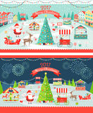 Christmas Market Day and Night Panoramic Vector. Illustration. Merry Christmas and Happy New Year greeting card design. Xmas tree, santa, deer and sledges Stock Image