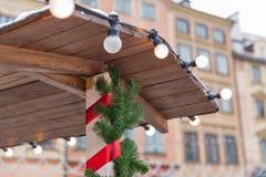 Christmas market decoration closeup. Royalty Free Stock Photography