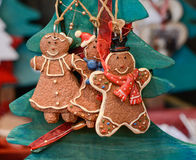 Christmas market decoration - gingerbread cookies. Christmas market in details. Three funny gingerbread cookies - Christmas toys Royalty Free Stock Image