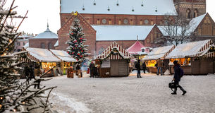 Christmas market at the Dome square in Riga Old Town, Latvia. Stock Photo