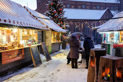 Christmas market at the Dome square in Riga Old Town, Latvia. Stock Photography