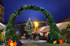 Christmas Market in Dome Square in Riga Royalty Free Stock Image