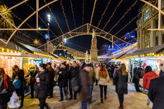 Christmas Market Downtown Bucharest City At Night In The University Square Royalty Free Stock Photography