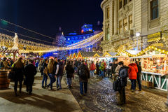 Christmas Market Downtown Bucharest City At Night In The University Square Stock Photos