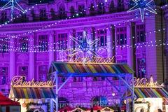 Christmas Market Downtown Bucharest City Stock Photos