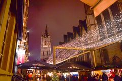 Christmas market in downtown of Gent royalty free stock photos