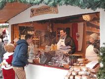 Christmas Market in Dresden on Altmarkt, Germany Royalty Free Stock Photos