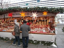 Christmas Market in Dresden on Altmarkt Square, Germany, 2013 Royalty Free Stock Photography