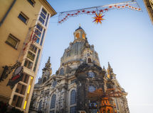 Christmas market in Dresden, Saxony, Germany. Old town in Dresden in advent time Royalty Free Stock Photos