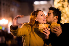 Christmas market eating selfie Royalty Free Stock Images