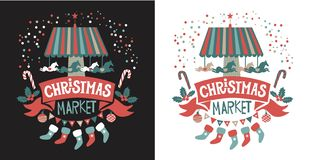 Christmas market emblem vector illustration
