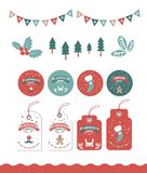 Christmas market, fair, festival Set. With tags, stickers, label and festive decor, garlands, Christmas trees, Christmas branches, Christmas Mistletoe. For royalty free illustration