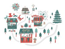 Christmas market, fair, winter festival. Set. Happy New year inscription. Christmas tree, trucks with gifts and food, a Ferris wheel, garlands, horses carousel stock illustration